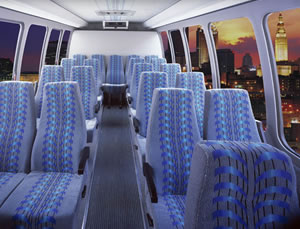 28-32 passenger mini-bus interior